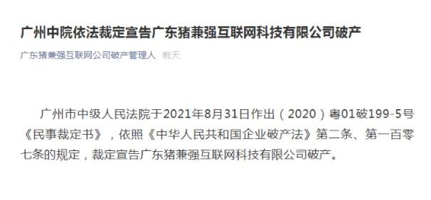 知名驾校破产:广东猪兼强互联网科技有限公司破产